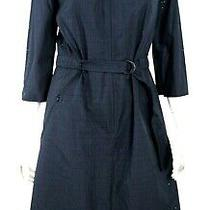 Akris Punto 1190 Nwt Navy Cotton Perforated Belted Zip-Front Shirt Dress 8 Photo