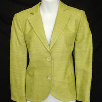 Akris Punto 10 100% Silk Jacket Button Front Yellow Green F 42 D 40 18031402zsa Photo