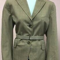 Akris Punto 10 Brown Red Checkered Cotton Belt Designer Womens Jacket Blazer Photo