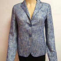 Akris Punto 4 Luxury Tweed Blue Cream Jacket Designer Womens Blazer Photo