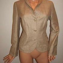 Akris Punto 6 Sexy Ribbed Silk Gold Golden Beige Designer Jacket Womens Blazer Photo