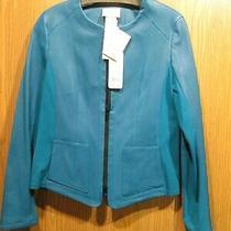 Akris Punto Aqua Blue Lambskin Leather Jacket Size 8 New 2300 Photo