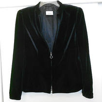 Akris Punto Beautiful Black Velvet Jacket Sz 10 Front Zipper and Two Pockets Photo