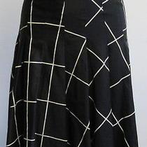 Akris Punto Black/cream Windowpane a-Line Skirt Sz 8 Photo