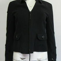 Akris Punto Black Felt Circle Cut Out Blazer Size 4 Photo