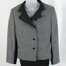 Akris Punto Black Gray Houndstooth Two Button Blazer Jacket Size 40 Us 8 Photo