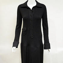 Akris Punto Black Ribbed Wool With Solid Wool Skirt Sweater Dress Size 12 Photo