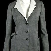 Akris Punto Black & White Micro-Striped Cotton Knit Blazer Jacket 12 Photo