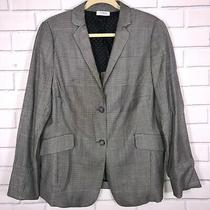 Akris Punto Blazer Jacket Black White Houndstooth Glen Check Size 16 Wool Blend Photo