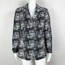 Akris Punto Blazer Jacket Black/white With Faux-Leather Trim Size Us 12 - Ntsf Photo