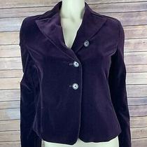Akris Punto Blazer Size 8 Women's Purple Velvet Jacket Button Long Sleeve Pocket Photo