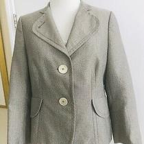 Akris Punto Blazer Square Dot Print 10 Tan Beige Designer Jacket Cotton Photo