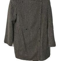 Akris Punto Button Black White Wool Jacket Blazer Size 10 Photo