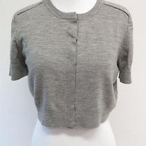 Akris Punto Cropped Short Sleeve Cardigan Heather Gray Size 8 Gently Worn Photo