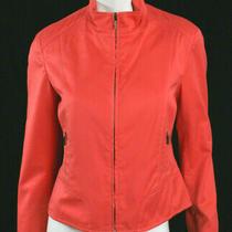 Akris Punto Dark Coral Orange Cotton Standing Collar Zip-Front Jacket 8 Photo