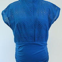 Akris Punto Eyelet Cummerbund Blouse Blue Size Us 10 F 42 795 Gently Worn Photo