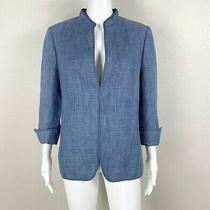 Akris Punto Flax Linen Blazer Jacket Blue Size Us 12 - Ntsf Photo