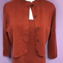Akris Punto for Bergdorf Goodman Cashmere Wool Burnt Orange Sweater Set Size 10 Photo