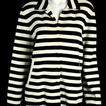 Akris Punto Ivory & Black Striped Wool Blend Knit Blazer Jacket 14 Photo