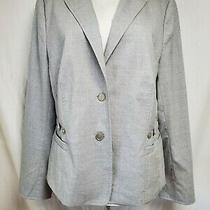 Akris Punto Jacket Blazer Sz 14 Solid Gray Pockets Wool Stretch Lightweight Photo