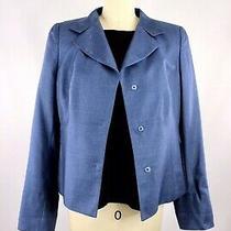 Akris Punto Jacket Women's 10 Indigo Blue Blazer Silk Cashmere Lined Photo