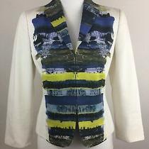 Akris Punto Luxury White/multi-Color Designer Womens Blazer Jacket Size 6 Photo