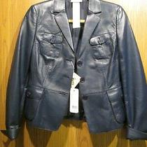 Akris Punto Navy Blue Lambskin Button-Up Leather Jacket Size 6 New 2300 Photo