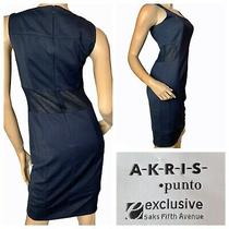 Akris Punto Navy Stretch Sheath Sleeveless Dress Knit Net Mesh Back Sides  Sz 4 Photo
