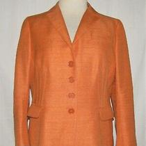 Akris Punto Orange Textured 100% Silk Button Front Tailored Blazer Jacket Sz 12 Photo