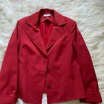 Akris Punto Red  Wool Blend Classic Single Breasted Jacket Size 12 Photo