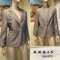 Akris Punto Size 14/x-Large Xl Gray Dotted Check 100% Cotton Blazer/suit Jacket Photo