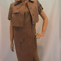 Akris Punto Sweden Womens Short-Sleeve Jacket and  Dress Taupe Outfit  Sz Us10 Photo