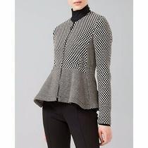 Akris Punto Sz 4 Peplum Wool Blazer Jacket Zip Front Dotted Print Jacquard Black Photo