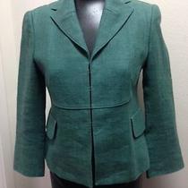Akris Punto Sz 6 Hunter Green 100% Linen Long Sleeve Blazer Hook/eye Jacket Euc Photo
