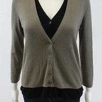 Akris Punto Taupe Black Silk Cashmere Double Layer v-Neck Cardigan Sweater Sz 8 Photo