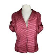 Akris Punto Texture Tonal Stripes Half Sleeve Roll Tab Cuffs Blazer Size 10 Photo