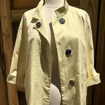 Akris Punto Us 8 Yellow Swing Jacket 3/4 Cuff Sleeve Polyester Made Switzerland  Photo