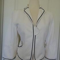 Akris Punto White Black Trim  Cotton/ Linen Jacket/ Blazer Sz 10switcerland Photo