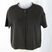 Akris Punto Women's Brown Hook & Eye Short Sleeve Cardigan Sweater Size 8 Photo