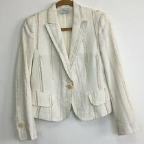 Akris Punto Women's Cream & Brown Striped Linen Blend 1 Button Blazer  - Size 8 Photo