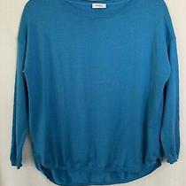 Akris Punto Womens 100% Wool Sweater Top Blue Size 6 Long Drop Sleeve Rounded  Photo