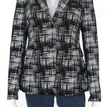 Akris Punto Womens Abstract Print Button Down Blazer Black White Size 6 Photo