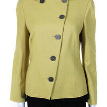 Akris Punto Womens Angora Wool Asymmetric Button Jacket Mustard Yellow Size 10 Photo