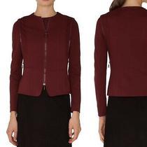 Akris Punto Womens Burgundy Jersey Knit Zip Detail Jacket Blazer Size 8 Photo