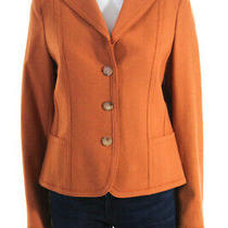 Akris Punto Womens Button Up Collared Wool Blend Blazer Jacket Orange Size 10 Photo