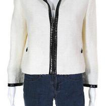 Akris Punto Womens Faux Patent Leather Trim Zipper Blazer Jacket Cream Size 10 Photo