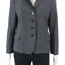 Akris Punto Womens Four Button Notched Lapel Dotted Blazer Blue Cotton Size 10 Photo