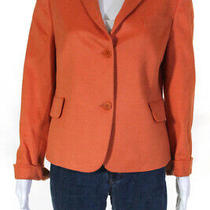 Akris Punto Womens Long Sleeve v Neck Solid Print Blazer Jacket Orange Size 10 Photo