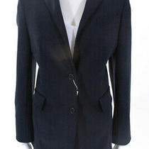 Akris Punto Womens Long Sleeve v Neck Solid Print Blazer Navy Blue Size 10 Photo
