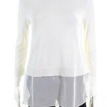 Akris Punto Womens Open Knit Trim Crew Neck Sweater White Cotton Size 4 Photo